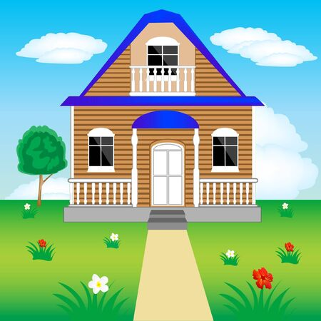 Illustration of the lodge in village Vector