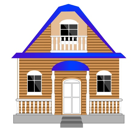 premises: Illustration of the small building on white background is insulated Illustration