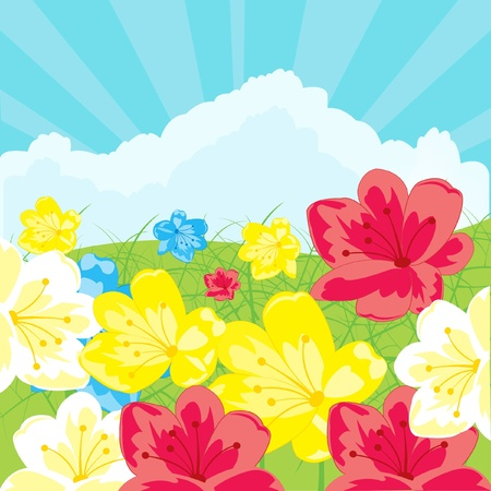 Illustration glade with flower and blue sky