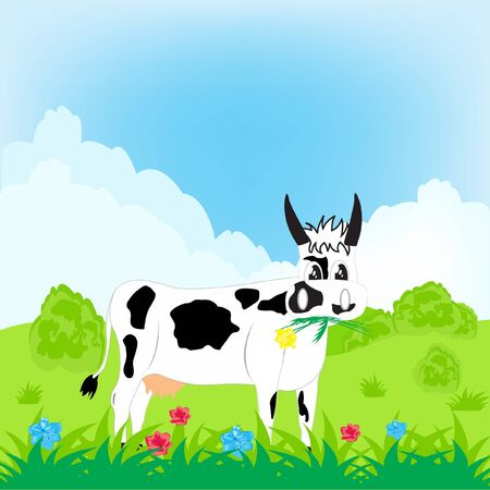 Illustration of the cow on green meadow Stock Vector - 13108913