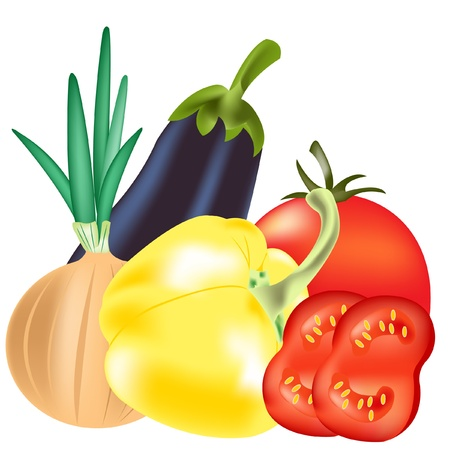 Illustration vegetables on white background is insulated Imagens - 13605865