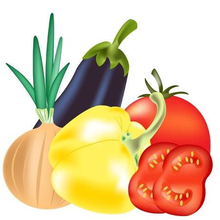 traino: Illustrazione verdure su sfondo bianco � isolato Vettoriali