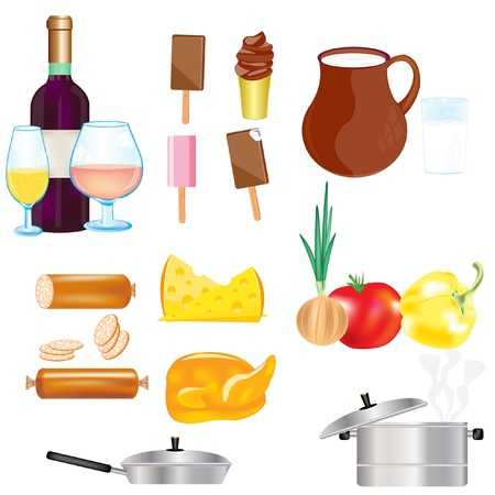 Illustration of the food and drink on white background Illustration