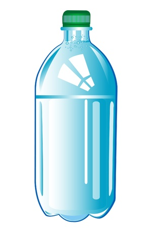 Plastic bottle with water on white background is insulated Vector
