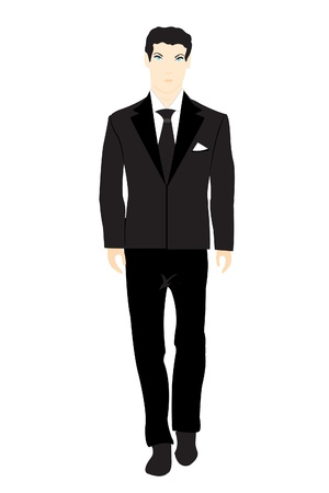 black suit: Illustration of the person in black suit on white background