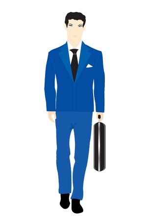 valise: Illustration men in turn blue suit with valise on white background