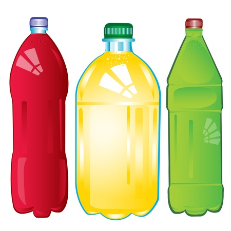 Illustration of the plastic bottles with carbonated water