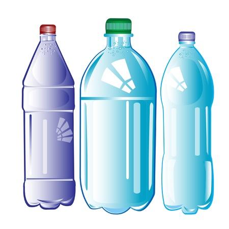 plastic: Plastic flessen met water op een witte achtergrond is geïsoleerd