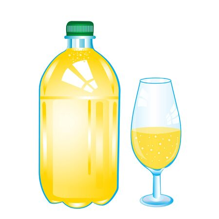 carbonated: Carbonated water in bottle and goblet on white background