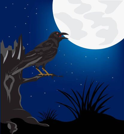 Black raven sitting on tree in the night