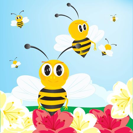 collect: Bees collect honey with flower Illustration