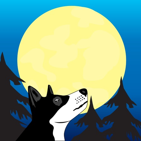 Dog in wood wails on moon Vector