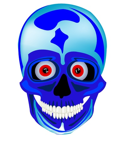 Cartoon skull of the person on white background