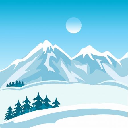 冬の山の風景のイラスト