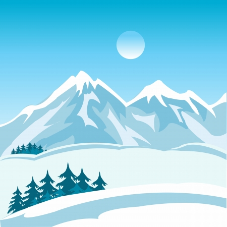 Illustration of the mountain landscape in winter