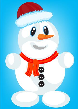 Festive snow person on turn blue background Vector