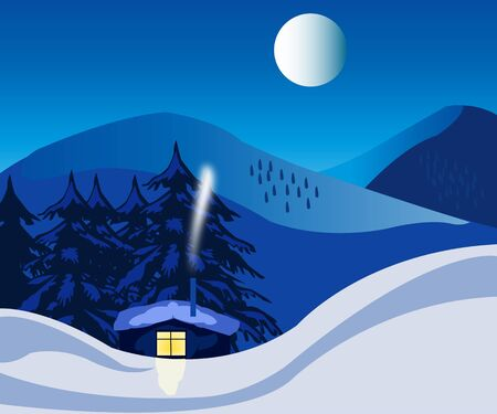 Illustration of the building in winter in wood in the night Stock Vector - 16240190