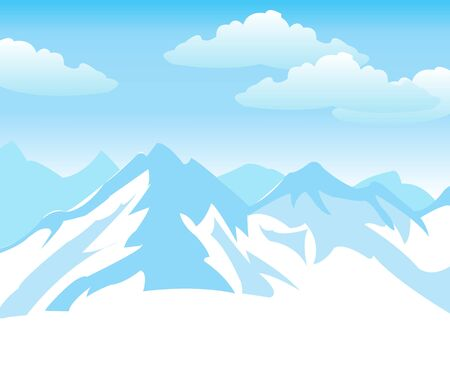 impregnable: Illustration of the mountains covered by snow