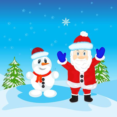 Illustration festive santa and snow person Vector