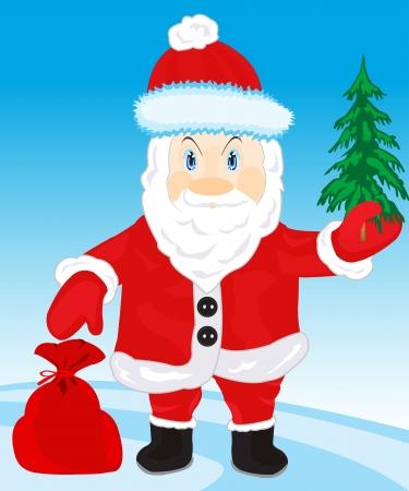 natty: Illustration festive santa and bag with gift Illustration