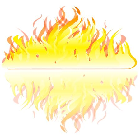 blazes: Fire and his reflection on white background is insulated