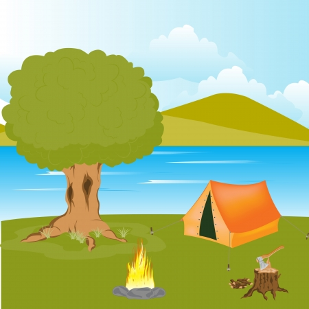 The Year rest beside streams.Tent and campfire ashore Stock Vector - 16358361