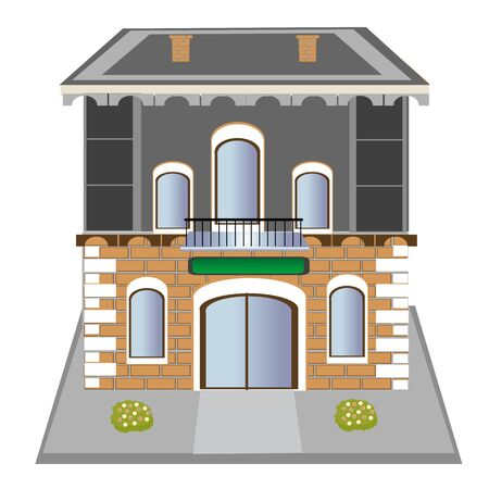 flowerses: Illustration of the modern building on white background is insulated