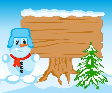 Illustration de la personne aveuglé par la neige et le bouclier en bois
