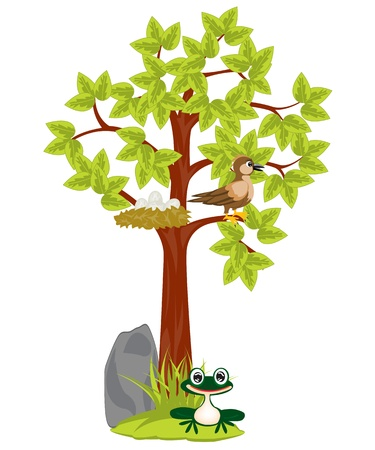 Illustration tree with jack and bird sitting on him Vector