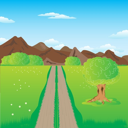 guiding: Illustration of the road guiding to mountains Illustration