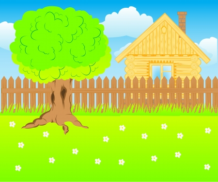 Illustration of the new building on nature Vector