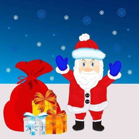 Illustration festive santa with gift Stock Vector - 16793170