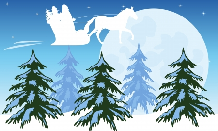 Festive santa flies on sky for new year Stock Vector - 16793168