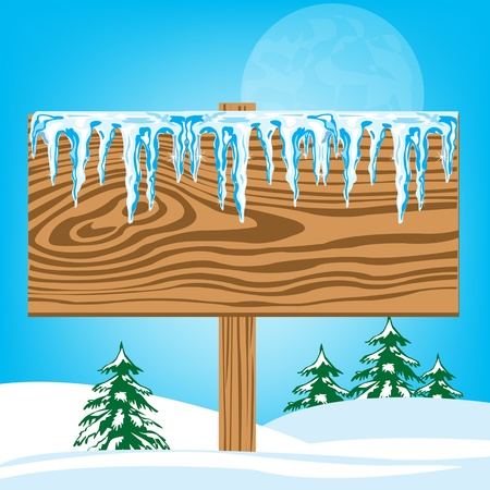 icicle: Wooden board with icicle in snow wood
