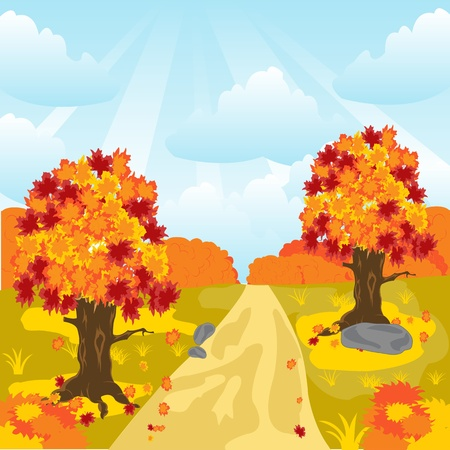 Illustration autumn wood and lanes Stock Vector - 16885041