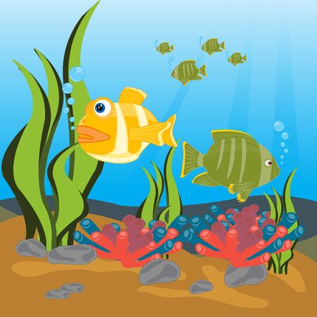 Illustration tropical fish sailling seaborne Vector