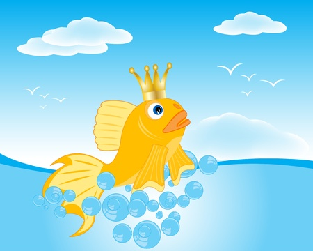 Illustration of the fairy-tale goldfish in ocean Stock Vector - 17433501