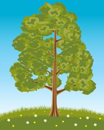 Solitary tree on glade with flower Stock Vector - 17475127