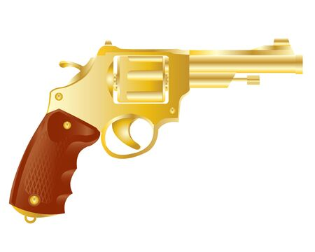 hold up: Illustration of the weapon revolver from gild on white background.