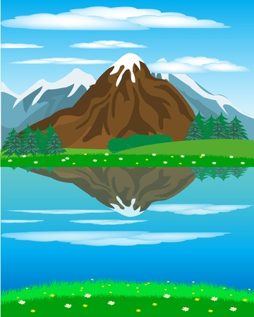Illustration of the year landscape with mountain and river Stock Vector - 17513269