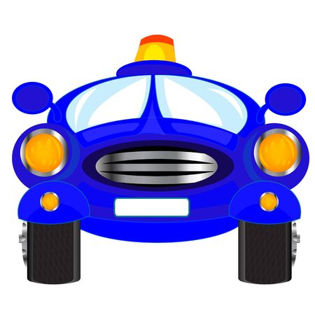 Illustration of the blue car on white background is insulated