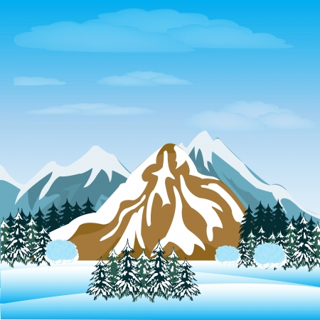 Illustration of the mountains and winter wood Stock Vector - 17513276