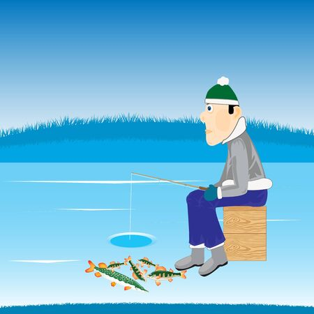 Illustration of the fisherman with fishing rod on river in winter Stock Vector - 17714188