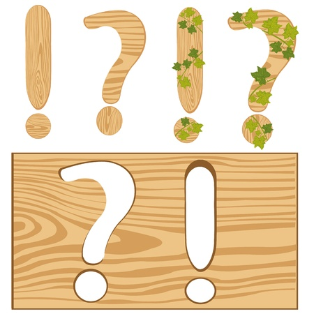interrogative: Illustration interrogative and exclamation point from tree Illustration
