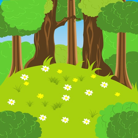 glade: Illustration glade with flower by summer in wood Illustration