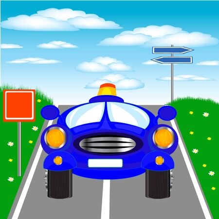 sectoring: Illustration of the blue car on road