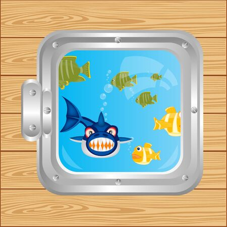 Illustration window and fish sailling in ocean Stock Vector - 17984059