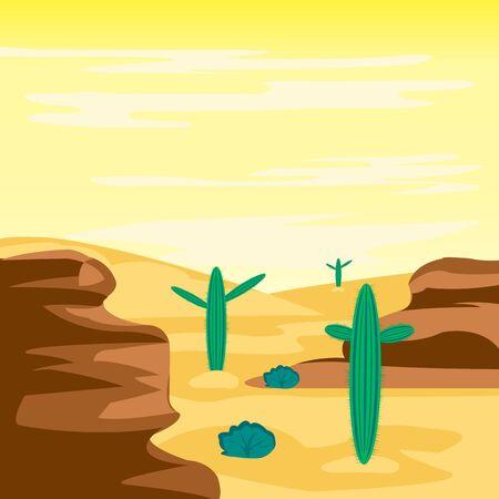Illustration arid desert and cactus Illustration