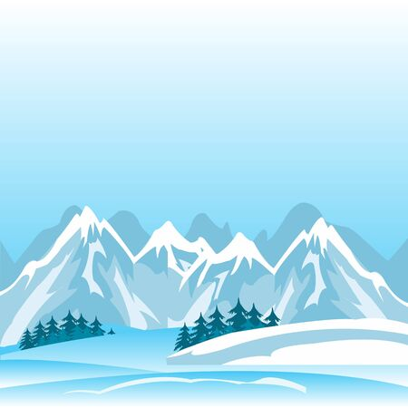 deserted: Illustration of the high mountains in winter