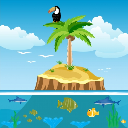 Desert island and ocean with fish Vector